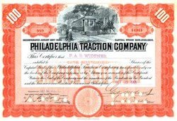 Philadelphia Traction Company 1905 - signed by George Widener as President (  Widener died on Titanic )