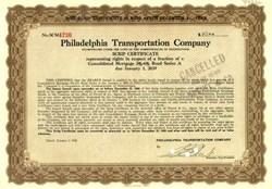 Philadelphia Transportation Company Scrip Certificate 1940