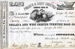 Philadelphia & West Chester Turnpike Road Co.  - Conostoga Wagon Vignette 1864