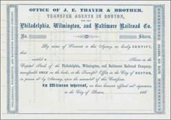 Philadelphia, Wilmington and Baltimore Railroad Company 1860's - Pre Kidder Peabody