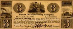 Phenix Manufacturing Company Three Dollar Private Banknote - Phidelphia 1837