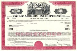Phillip Morris Incorporated (Now Altria Group, Inc)  - High Yield 14% Bond -  Virginia 1981