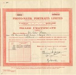 Photo-Matik Portraits Limited - England 1929
