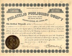 Philatelic Publishing Company Signed by Famous Collector and Publisher,  C. H. Mekeel  - St. Louis, Missouri  1889