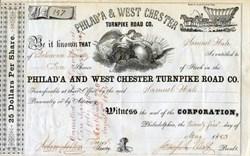Philadelphia & West Chester Turnpike Road Co. - Conostoga Wagon Vignette - 1853