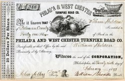 Philadelphia & West Chester Turnpike Road Co. - Conostoga Wagon Vignette - 1873