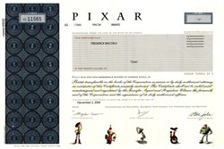 Pixar Stock Certificate ( Produced Toy Story , A Bug's Life,  Monsters, Inc ) Steve Jobs as Chairman  - Acquired by Disney