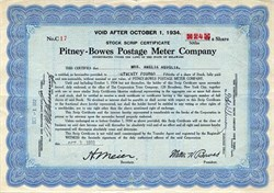 Pitney - Bowes Postage Meter Company - Delaware 1932