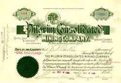 Pilgrim Consolidated Mining Company - Signed by Henry M. Blackmer (Tea Pot Dome Scandal)   - Cripple Creek, Colorado 1899