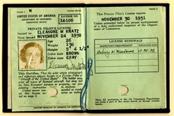 Pilots License for Woman Pilot, Eleanore M. Kratz signed by Clarence M. Young  - 1931