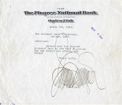 Pingree National Bank signed by James Pingree (Unusual Signature)  -  Ogden, Utah 1916