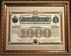 Framed Pine Creek Railway Company Bond hand signed by William K. Vanderbilt - 1885