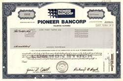Pioneer Bancorp - Fullerton, California - Closed by State Banking Commission