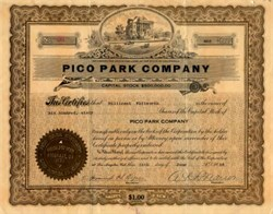 Pico Park Company - Los Angeles, California 1916
