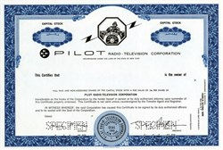 Pilot Radio - Television Corporation - New York 1967