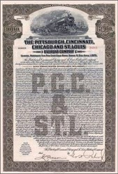 Pittsburgh, Cincinnati, Chicago and St. Louis Railroad $1,000 Gold Bond - 1925