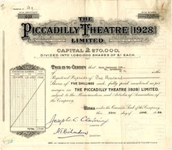 Piccadilly Theatre, Limited - England 1928