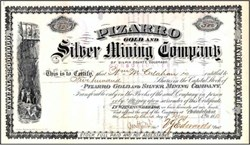 Pizarro Gold and Silver Mining Company 1881 - Giplin County, Colorado