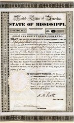 State of Mississippi $1,000 Bond 1833 - Infamous State Default Bond signed by Governor, Abram M. Scott
