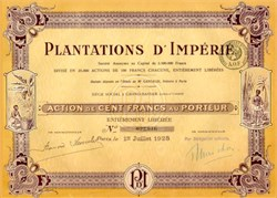 Plantations D' Imperie - Ivory Coast - 1928