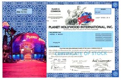 Planet Hollywood Stock Certificate s/Demi Moore, Bruce Willis,  Governor Arnold Schwarzenegger, and Sylvester Stallone