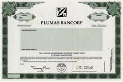 Plumas Bancorp - California