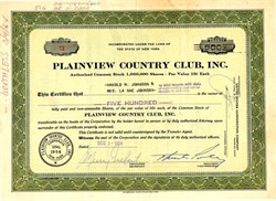 Plainview Country Club, Inc. - New York 1958