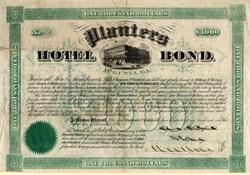 Planters Hotel Bond - Augusta, Georgia 1875