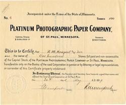 Platinum Photographic Paper Company - Minnesota 1899