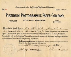 Platinum Photographic Paper  Company - St. Paul, Minnesota 1901