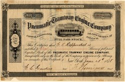 Pneumatic Tramway Engine Company -  New York 1878