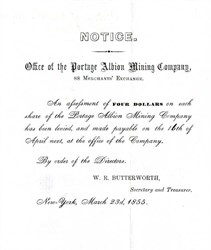 Portage Albion Mining Company Assessment Notice - New York 1855