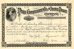 Popp Compressed Air and Electric Power Company signed by Elisa Dyer III  - New York 1888