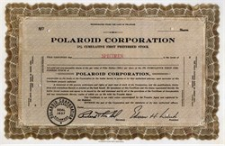 Polaroid Corporation (RARE Early certificate) - Edwin H. Land as President (Invented instant film cameras and polarized sunglasses)  - 1945