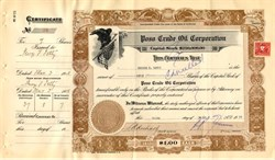 Poso Crude Oil Corporation issued to and signed by George F. Getty (Jean Paul's Dad) - California 1928