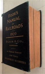 Poor's Manual of Railroads (original book ) - 1920