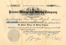 Pointer Mining and Milling Company - Cripple Creek District, Teller County, Colorado 1906