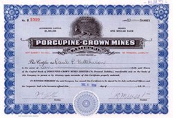 Porcupine - Crown Mines 1934