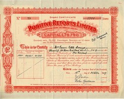 Positive Retorts, Limited - England 1929