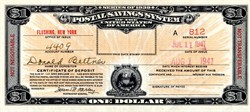 Postal Savings System $1 Certificate of Deposit - New York 1941