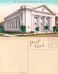 Postcard from the First Presbyterian Church, Alameda, California 1910