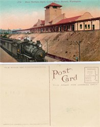 Postcard from the Great Northern Railway Depot Everett, Washington 1910