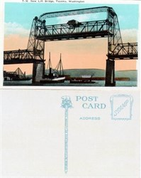 Postcard from the Lift Bridge in Tacoma, Washington 1920's