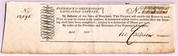 Potomack & Shenandoah Navigation Lottery Ticket organized by George Washington's Potomac Company - 1810