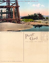 Postcard of oil cars at Shipping Station, Bakersfield, California