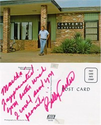 Postcard Signed by Billy Carter brother of Jimmy Carter