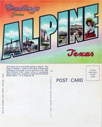 Postcard with Greetings from Alpine, Texas