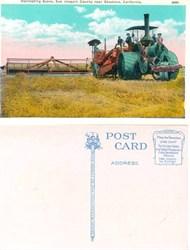 Postcard with harvesting scene, San Joaquin County near Stockton, California