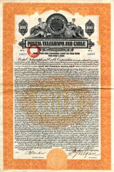 Postal Telegraph and Cable Corporation $100 Gold Bond - Maryland 1928