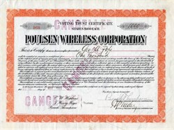 Poulsen Wireless Corporation signed twice by George Pope - 1911